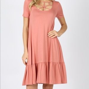 Web Detail Front Short Sleeve Dress